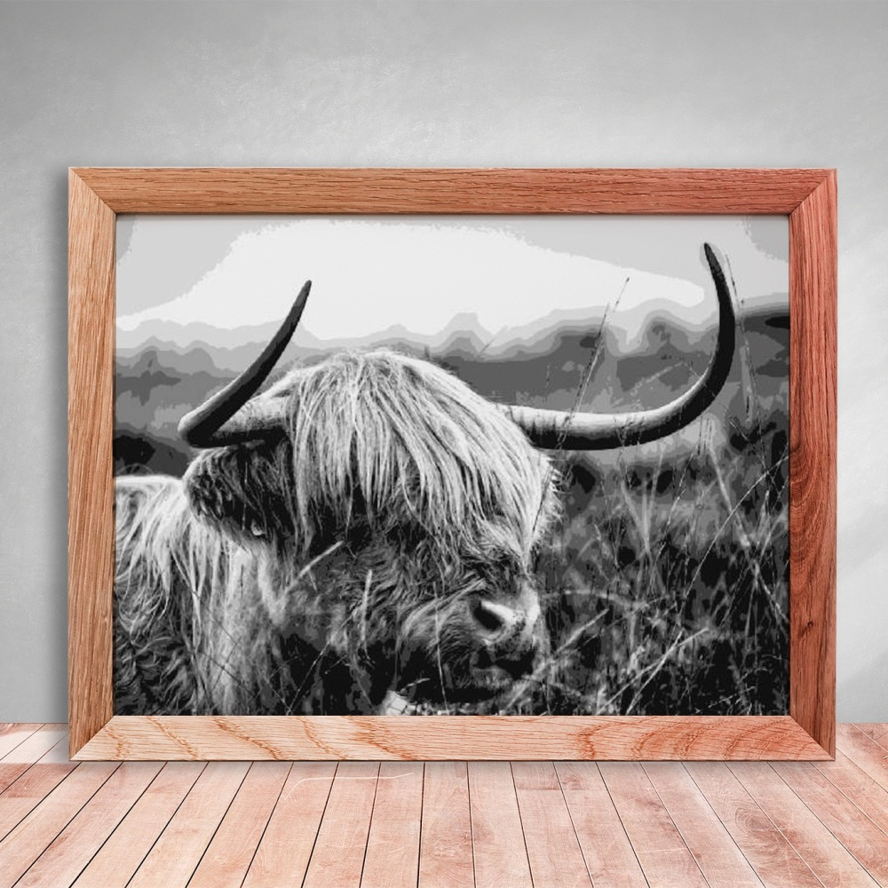 Layered Paper Cutting Template - 'Highland Cow' 8 layers