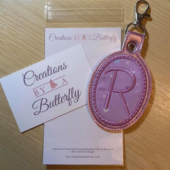 Pink and White Floral Initial Key Fob