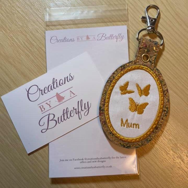 Mum Butterfly Cork Backed Key Fob