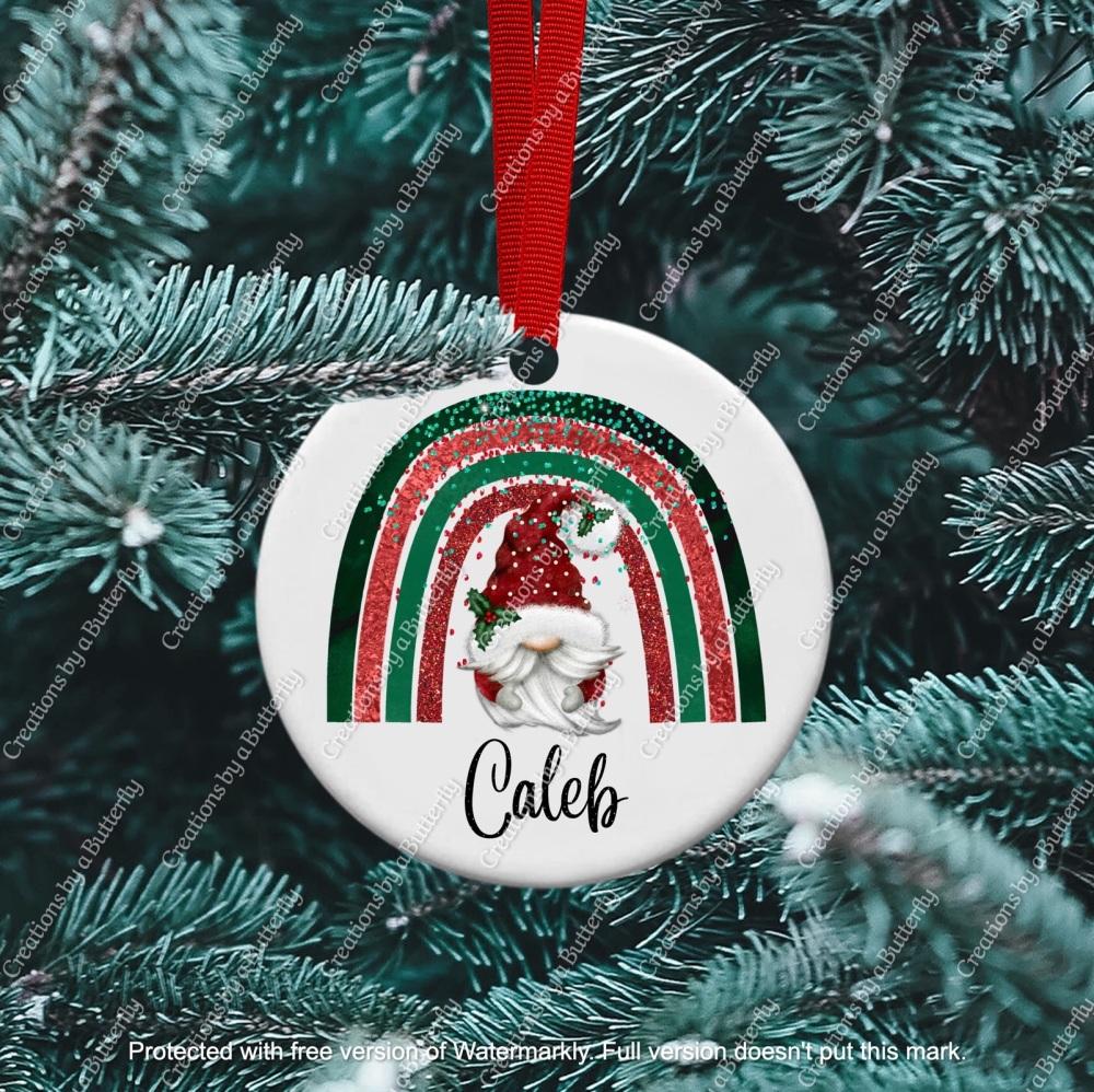 Gnome 3 Christmas Ceramic Ornament