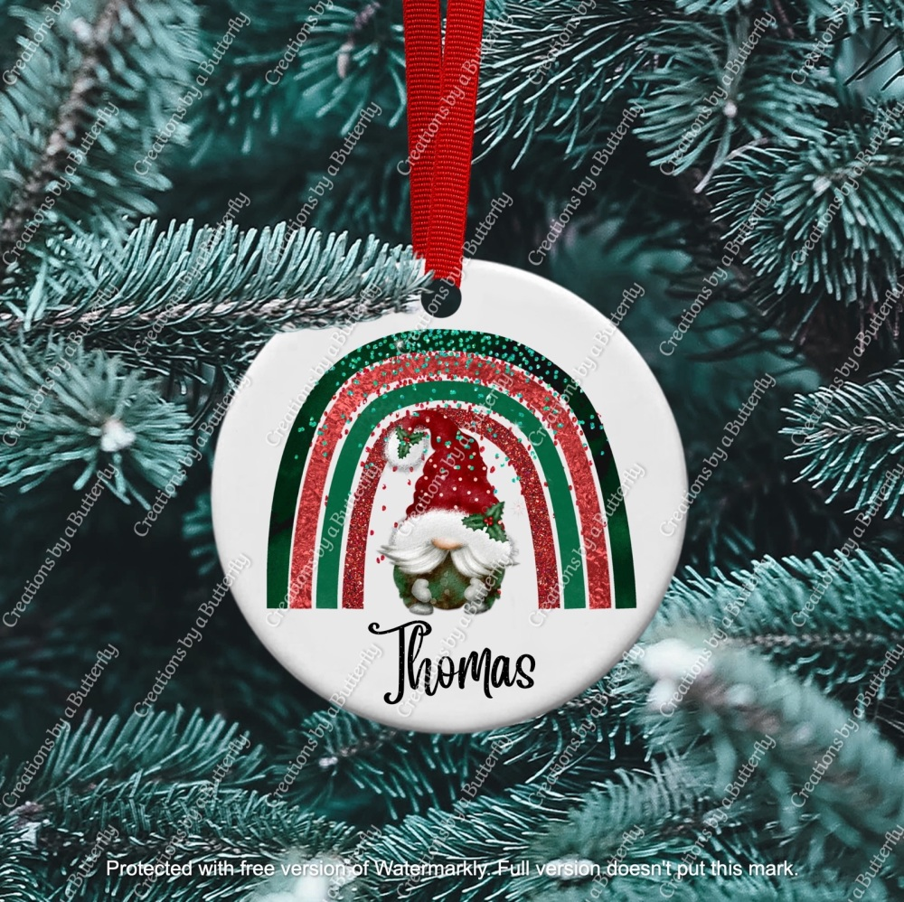 Gnome 4 Christmas Ceramic Ornament