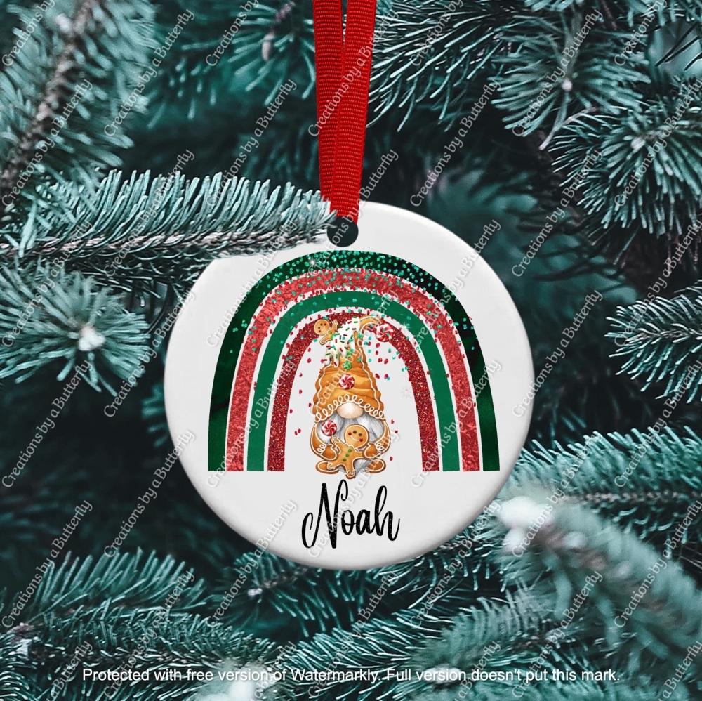 Gnome 8 Christmas Ceramic Ornament