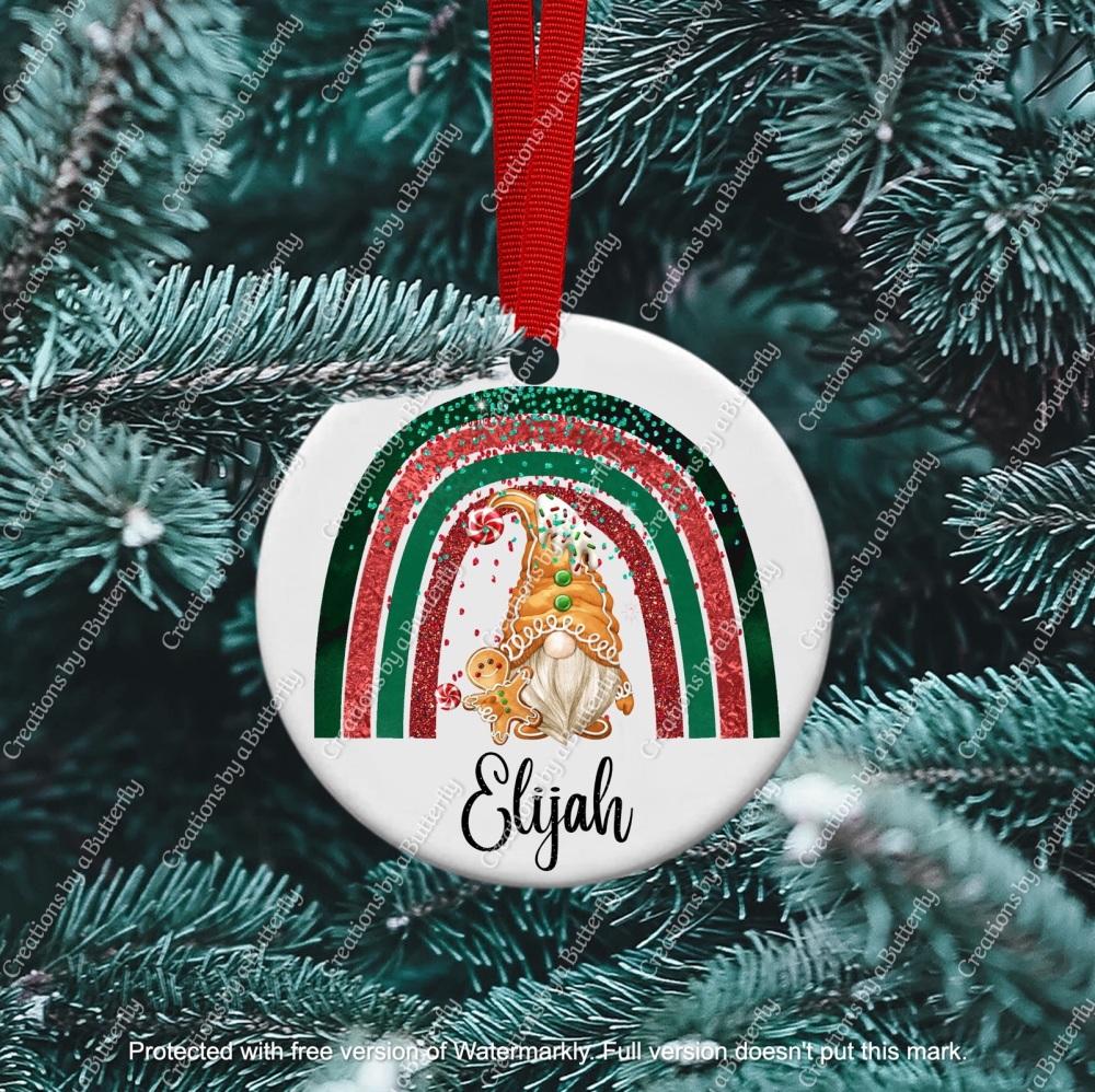 Gnome 10 Christmas Ceramic Ornament