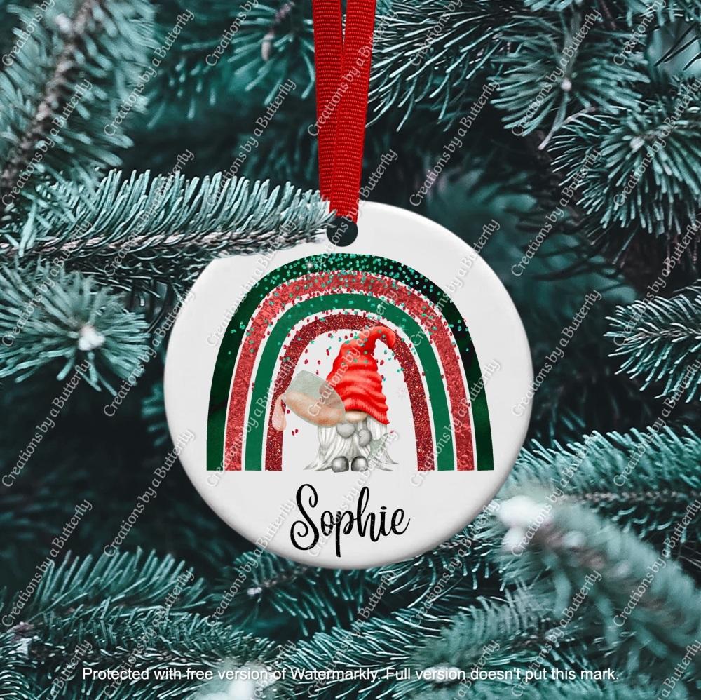 Gnome 13 Christmas Ceramic Ornament