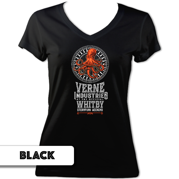 Whitby Steampunk Weekend Official Charity Ladies V Neck T-Shirt