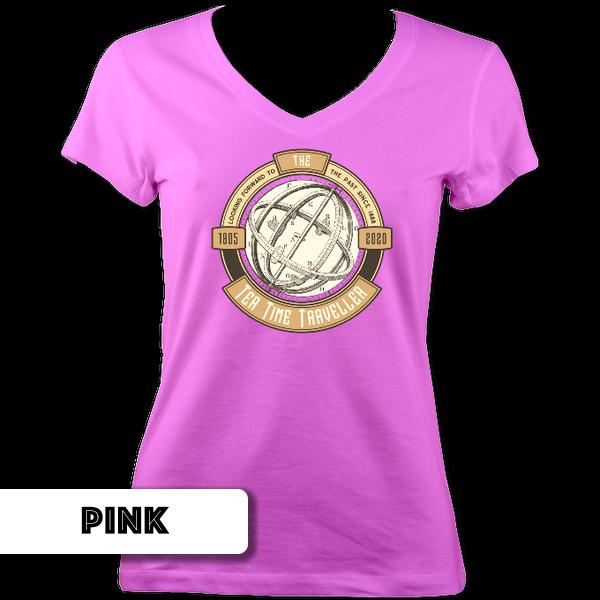 Tea Time Traveller Ladies V Neck T-Shirt