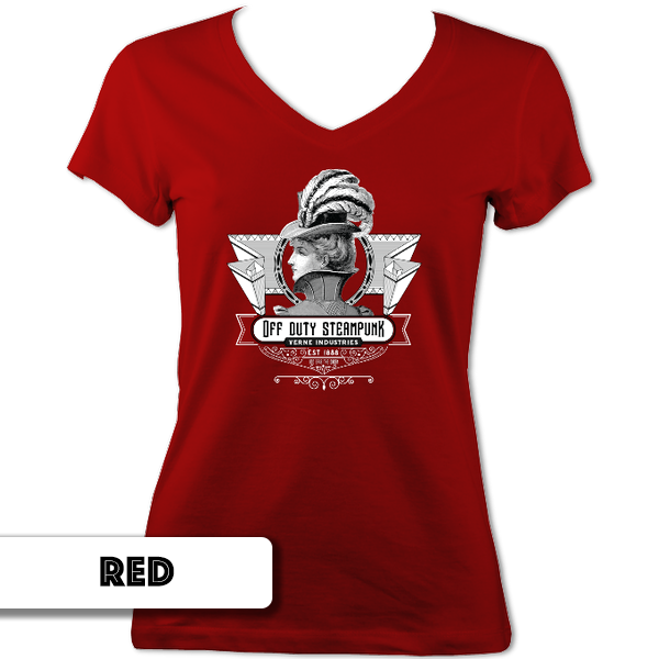 Off Duty Steampunk Ladies V Neck T-Shirt
