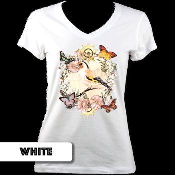 Clockwork Garden Ladies V Neck T-Shirt