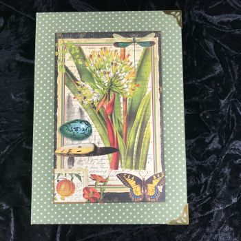 Natures Notebook X-Large Handmade Journal (Green with Cream Polka Dots) ONE OFF