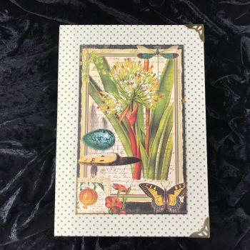 Natures Notebook X-Large Handmade Journal (Cream with Green Polka Dots) ONE OFF