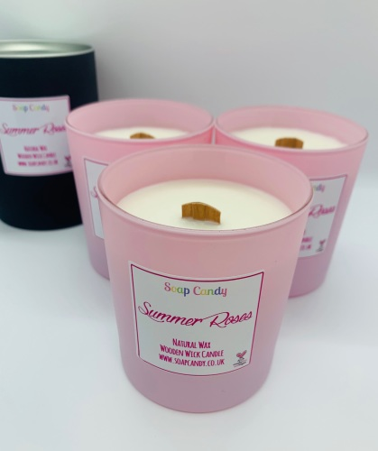 Summer Roses Wooden Wick Candle