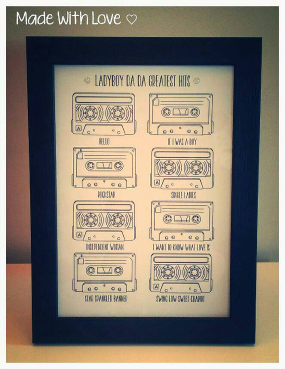 Personalised Cassette Tape Frame with Song Titles