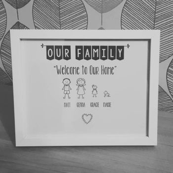 Personalised Stick Family Print with Box Frame