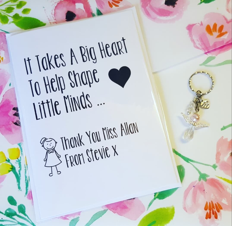Teacher Card and Guardian Angel Keyring Gift Set