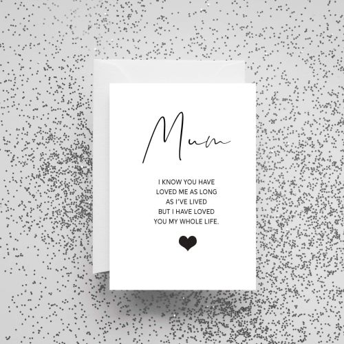 'Mum I Know You Have Loved Me As Long As I've Lived' Card
