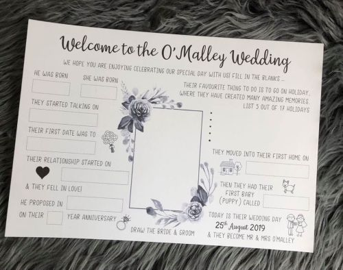 Wedding Activity Placemat