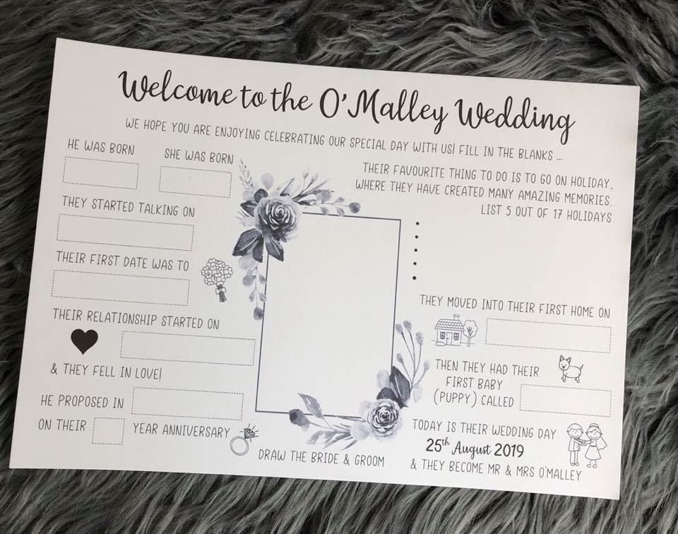 Wedding Activity Placemat