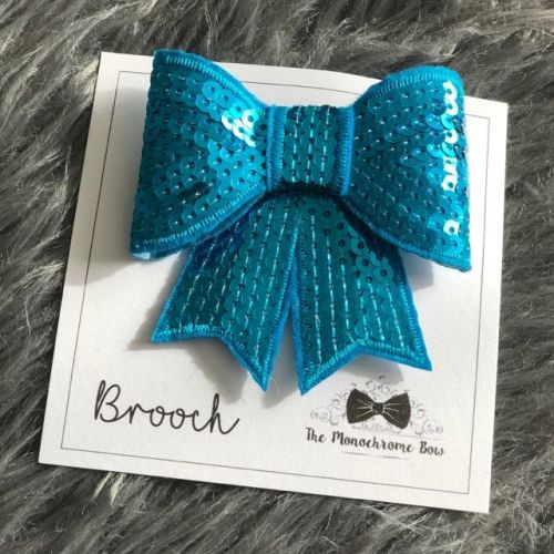 Blue Sequin Bow Brooch