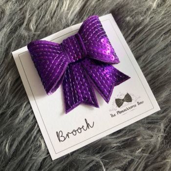Purple Sequin Bow Brooch