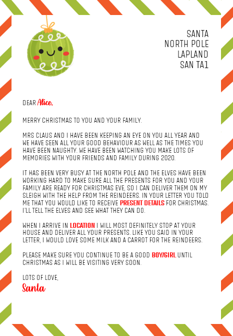 Letter from Santa (Before Christmas Day)