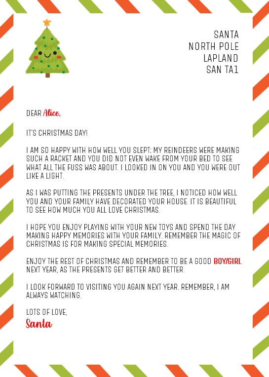 Letter from Santa (Christmas Day)