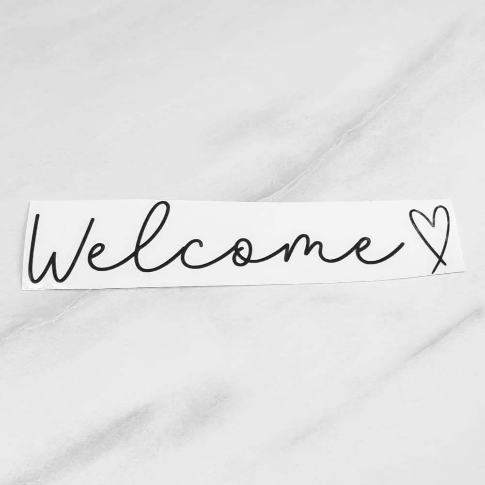 'Welcome' Letter Box Vinyl Label