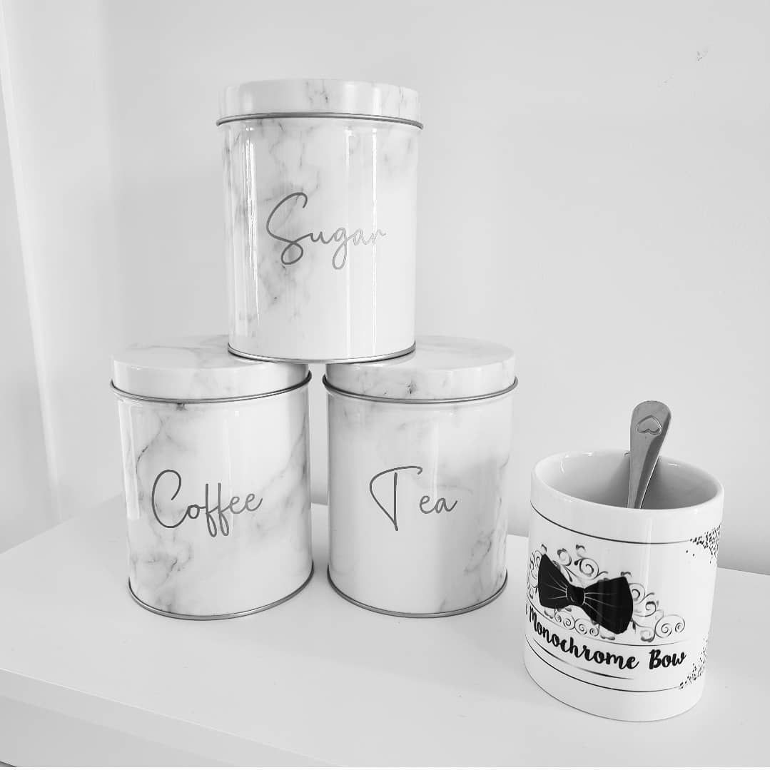 Set of 3 Marble Canisters for Tea, Coffee and Sugar