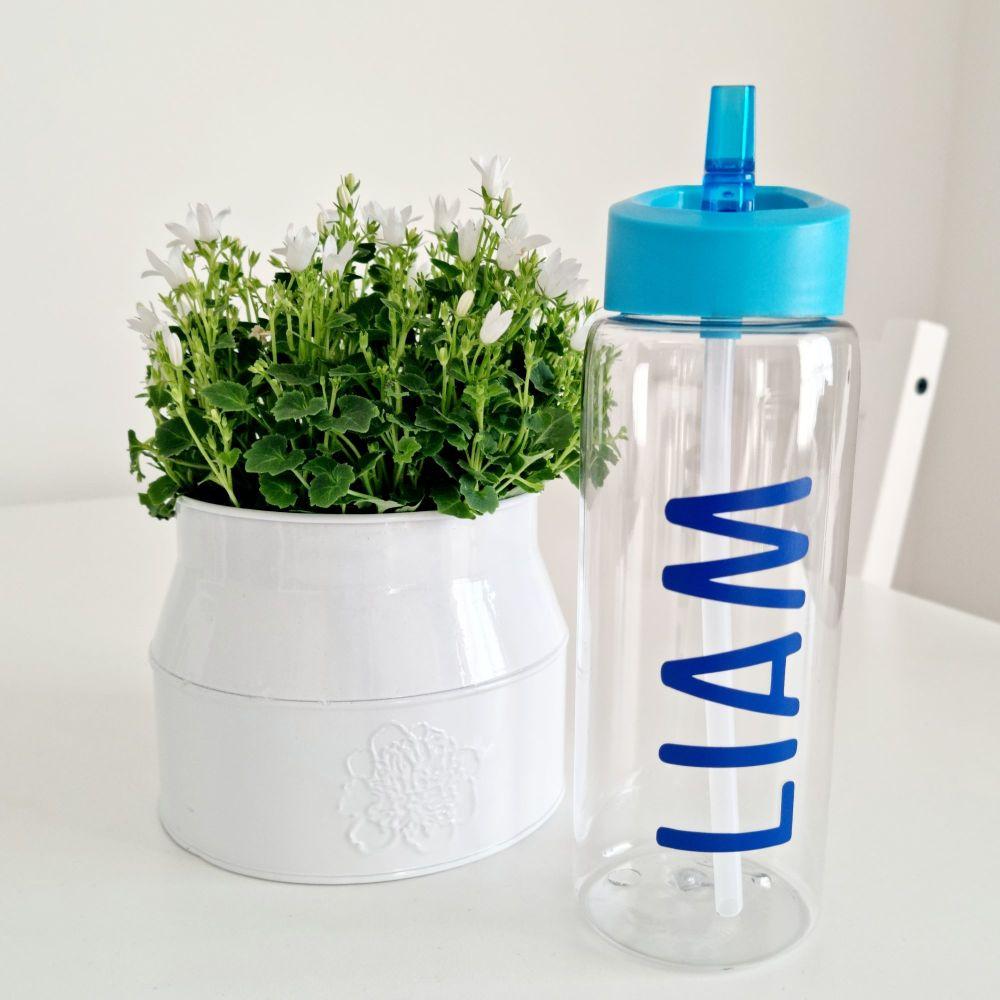Personalised Water Bottle (Blue Lid)