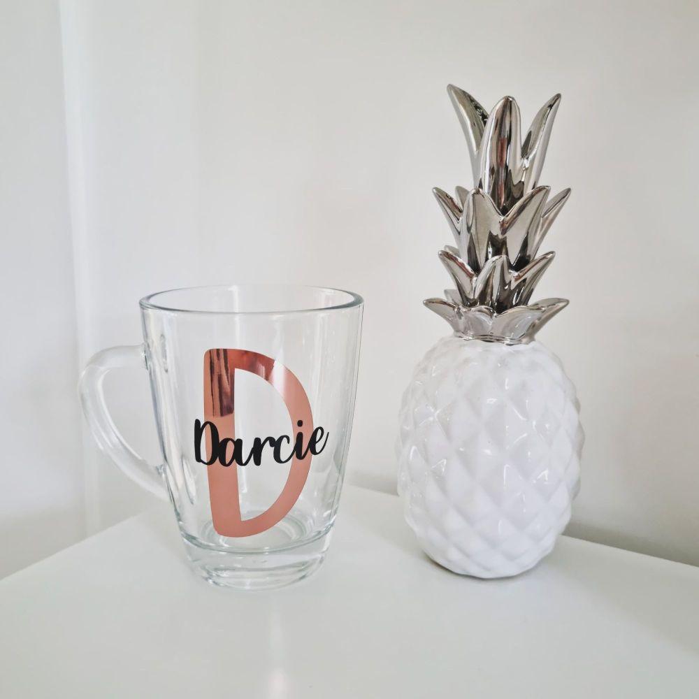 'Initial & Name' Personalised Glass Mug