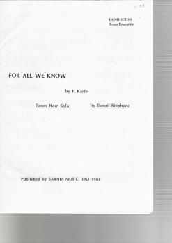 For All We Know, Tenor Horn Solo for 10-piece brass - F. Karlin arr. Denzil Stephens
