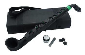 jSax in black with green trim
