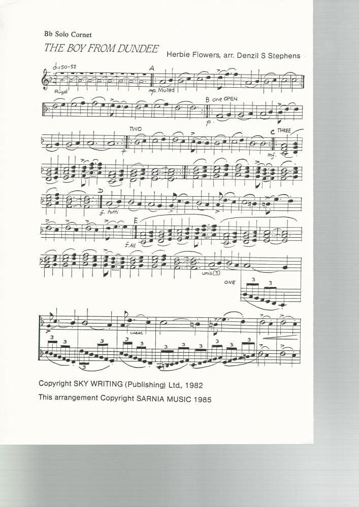 The Boy From Dundee for Brass Band - Herbie Flowers, arr. Denzil S. Stephen