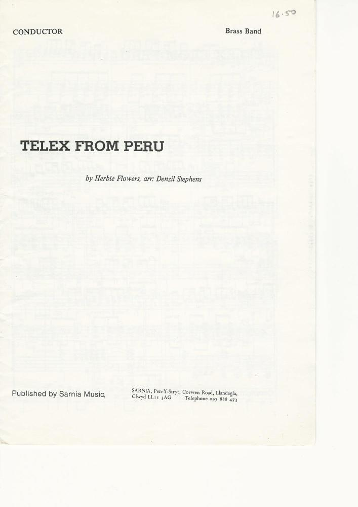 Telex from Peru for Brass Band - Herbie Flowers, arr. Denzil Stephens