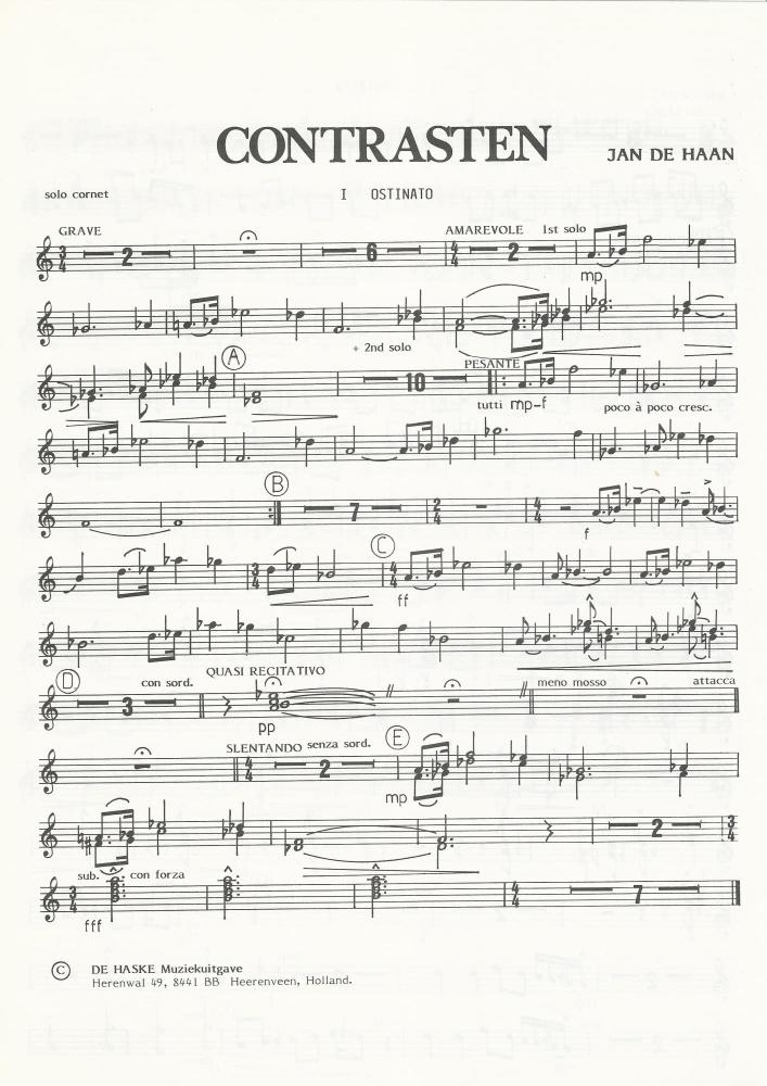 Contrasten for Brass Band (Parts Only) - Jan de Haan - NO SCORE