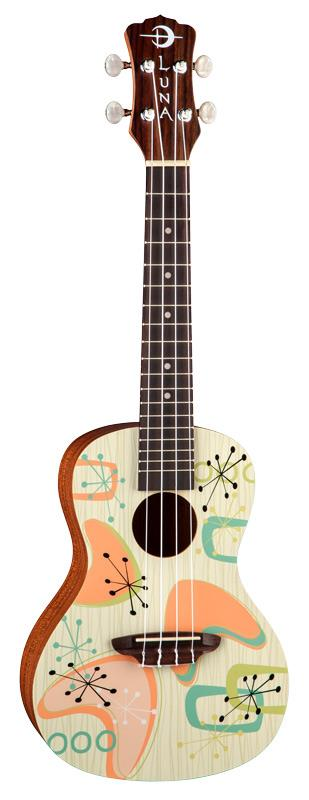 LUNA Concert Ukulele with RadioActive Graphic including Gig Bag
