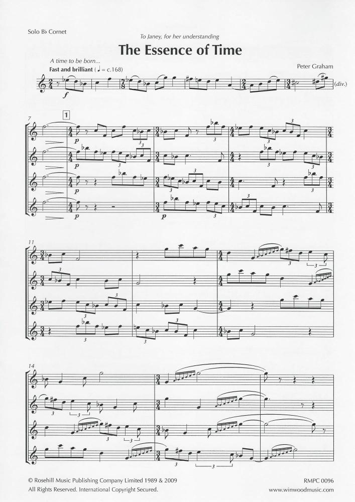 The Essence of Time for Brass Band (Parts Only) - Peter Graham - NO SCORE
