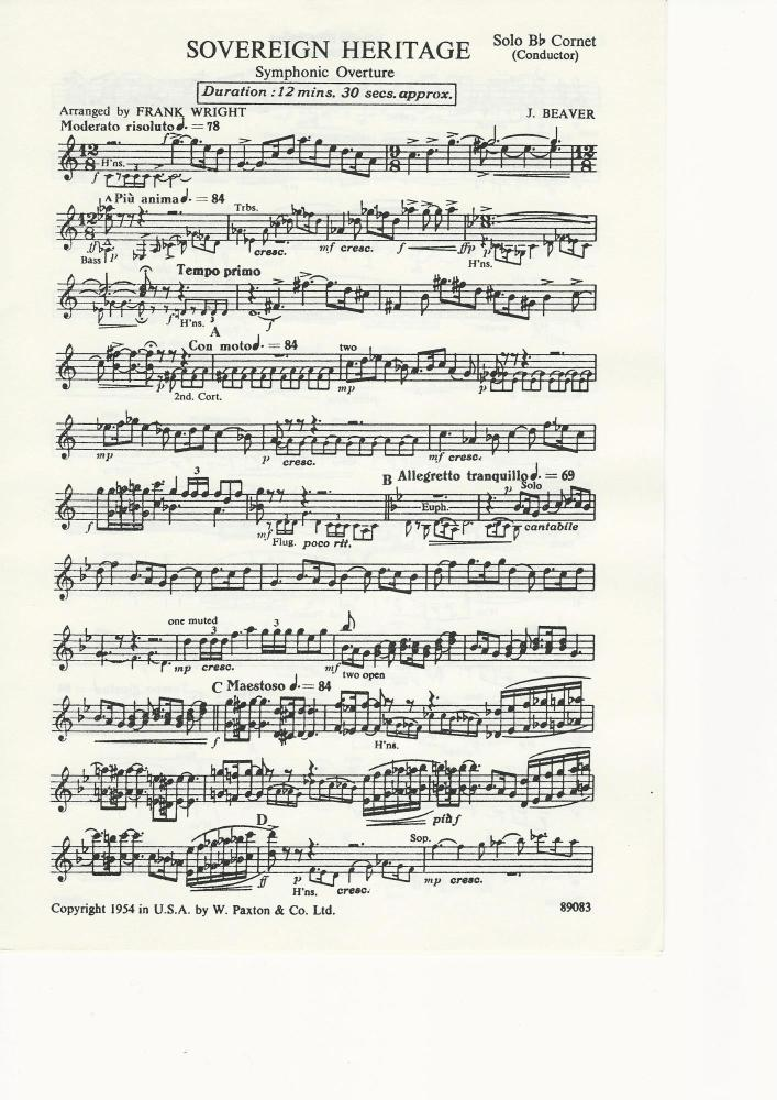 Sovereign Heritage for Brass Band (Parts Only) - J. Beaver, arr. Frank Wrig