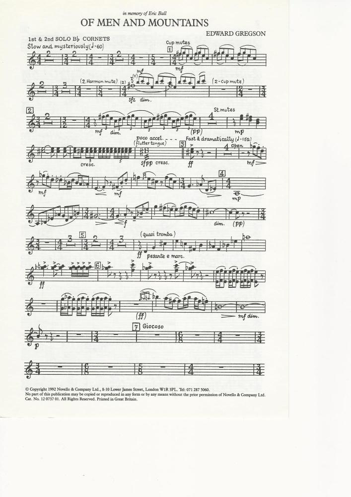 Of Men and Mountains for Brass Band (parts only) - Edward Gregson - NO SCOR