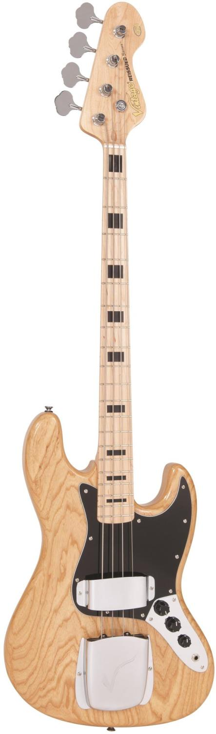Vintage Reissued VJ74 Maple Fingerboard Bass ~ Natural Ash