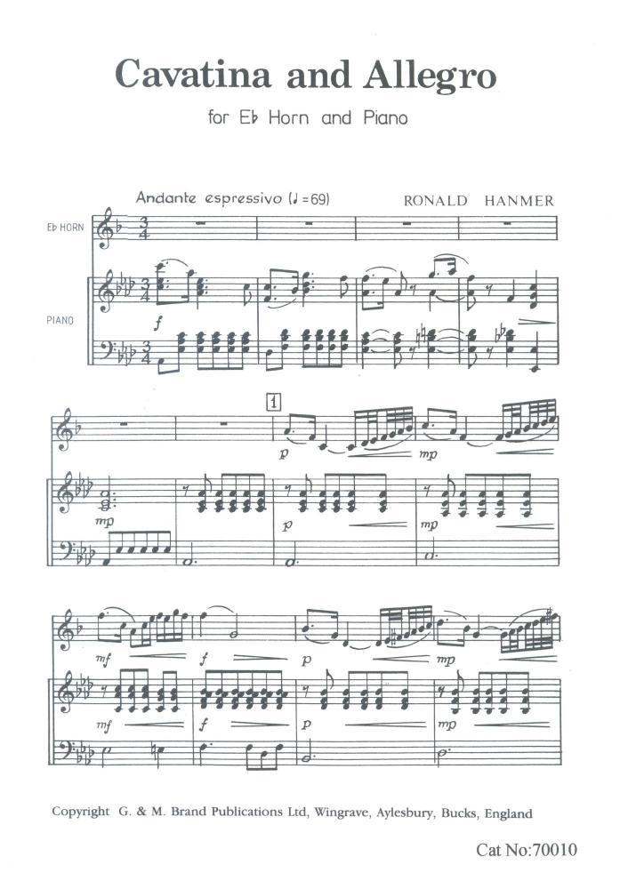 Cavatina and Allegro for Eb Horn, Ronald Hanmer