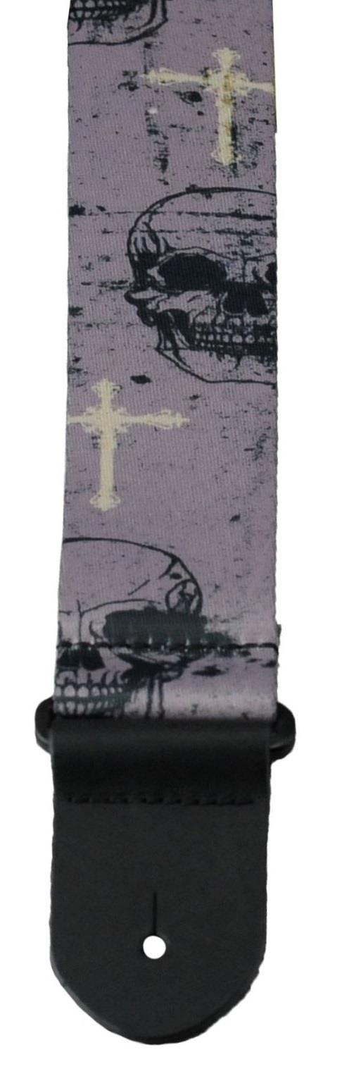 Perri 1642 Webbing Strap Grey Skulls and Crosses