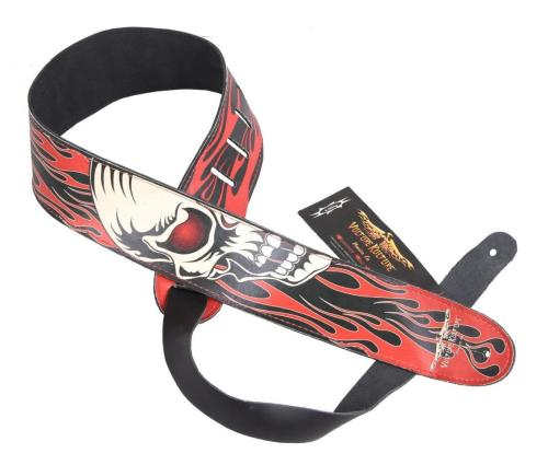 Perri 1265 Vulture Culture Fire Skull Leather Strap
