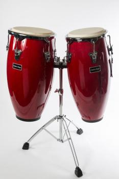 Centre Stage Congas with High Grade Chrome Stand with bags - Colour Red Wine