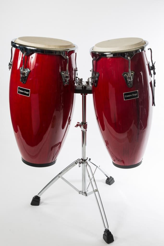 Centre Stage Congas with High Grade Chrome Stand with bags - Colour Red Win