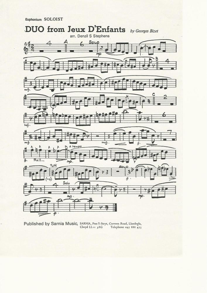DUO for Jeux D'Enfants (Cornet/Euphonium Duet) for Brass Band - Georges Biz