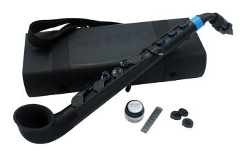jSax in black with blue trim