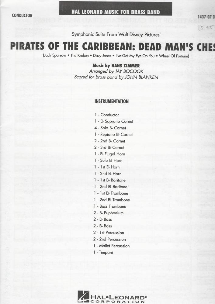 Pirates of the Caribbean: Dead Man's Chest for Brass Band (Score Only) - Ha