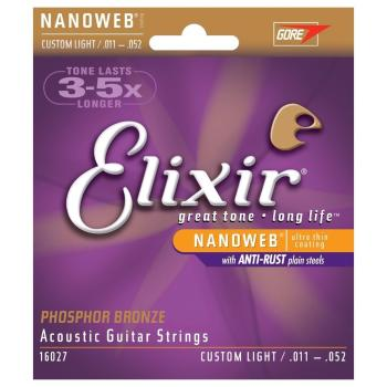 Elixir Guitar Strings Phosphor Nano Acoustic Custom Light set 11-52