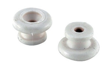 Strap Buttons White Plastic Pack of 2
