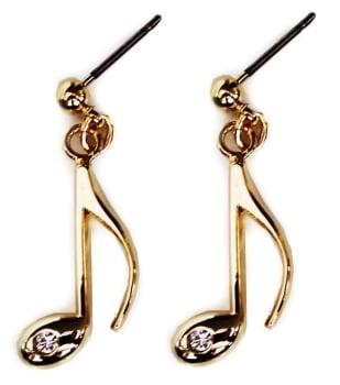 Earrings - Quaver, Rhinestone, goldplate